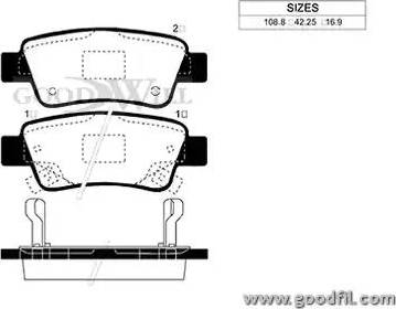 GoodWill 2037 R - Тормозные колодки, дисковые car-mod.com