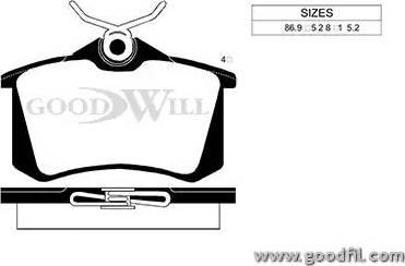 GoodWill 2056 R - Тормозные колодки, дисковые car-mod.com