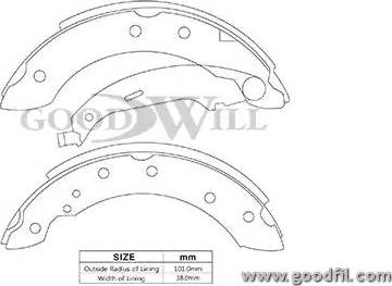 GoodWill 2067rb - Комплект тормозов, барабанный тормозной механизм autodnr.net