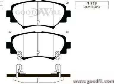 GoodWill 2126 R - Комплект тормозных колодок, дисковый тормоз autodnr.net