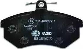 HELLA 8DB 355 017-701 - Комплект тормозных колодок, дисковый тормоз autodnr.net