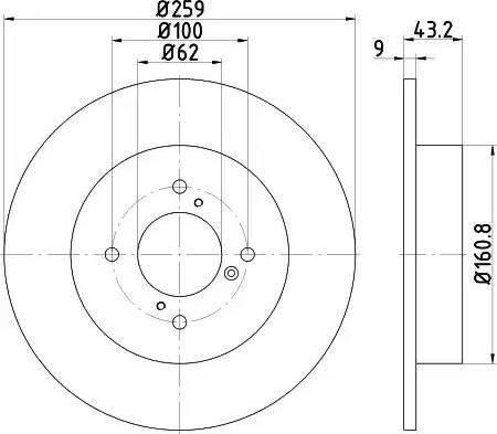 HELLA 8DD 355 117-301 - Тормозной диск autodnr.net
