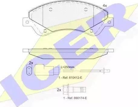Icer 141792 - Комплект тормозных колодок, дисковый тормоз autodnr.net