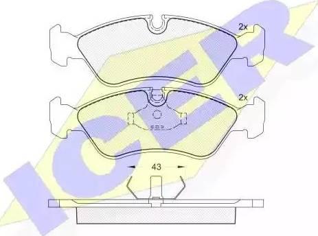 Icer 180758 - Комплект тормозных колодок, дисковый тормоз autodnr.net
