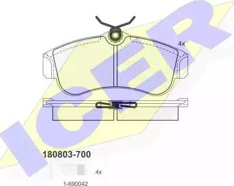 Icer 180803-700 - Комплект тормозных колодок, дисковый тормоз autodnr.net