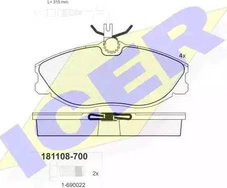 Icer 181108-700 - Комплект тормозных колодок, дисковый тормоз autodnr.net