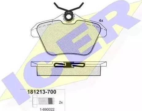 Icer 181213-700 - Комплект тормозных колодок, дисковый тормоз autodnr.net