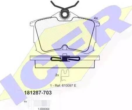 Icer 181287-703 - Тормозные колодки, дисковые car-mod.com