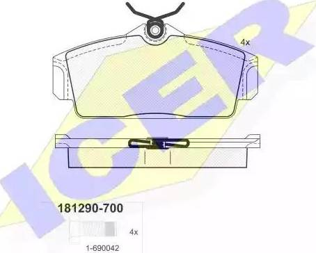 Icer 181290-700 - Комплект тормозных колодок, дисковый тормоз autodnr.net