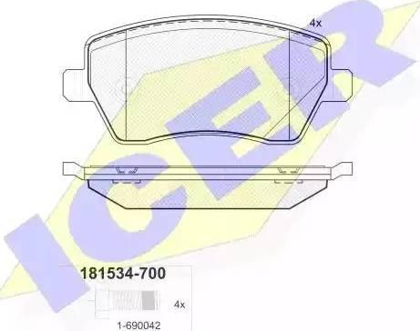 Icer 181534-700 - Комплект тормозных колодок, дисковый тормоз autodnr.net