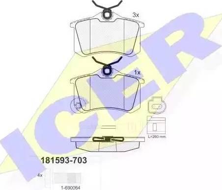 Icer 181593-703 - Комплект тормозных колодок, дисковый тормоз autodnr.net