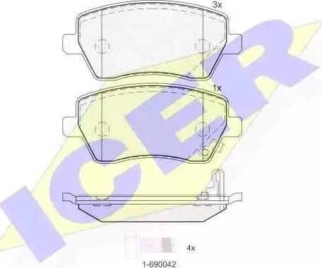 Icer 181748 - Комплект тормозных колодок, дисковый тормоз autodnr.net