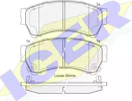 Icer 181868 - Комплект тормозных колодок, дисковый тормоз autodnr.net