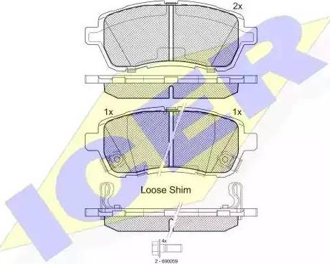 Icer 181881 - Комплект тормозных колодок, дисковый тормоз autodnr.net