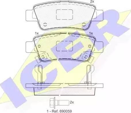 Icer 181888 - Тормозные колодки, дисковые car-mod.com