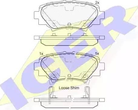 Icer 182169 - Комплект тормозных колодок, дисковый тормоз autodnr.net