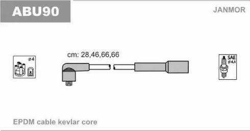 Janmor ABU90 - Комплект проводов зажигания autodnr.net