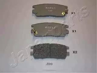 Japanparts PP-599AF - Комплект тормозных колодок, дисковый тормоз autodnr.net
