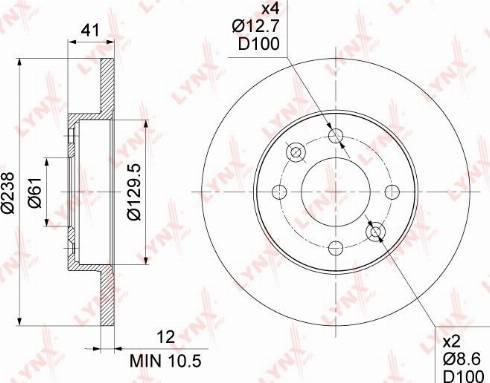 LYNXauto BN-1417 - Тормозной диск autodnr.net