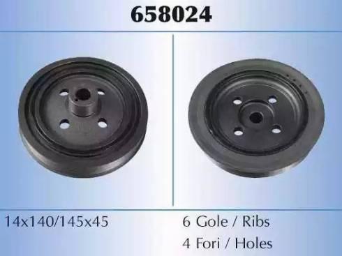 Malò 658024 - Ремінний шків, колінчастий вал autocars.com.ua