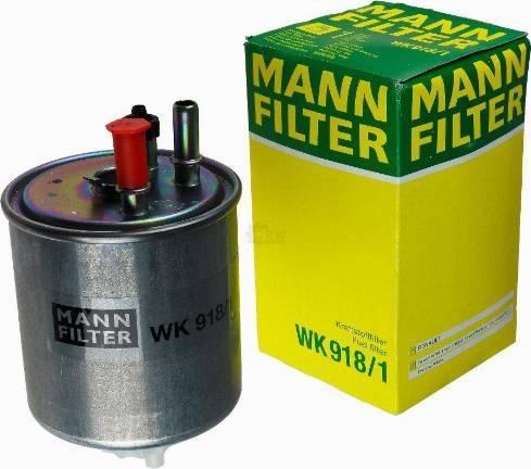 Mann-Filter WK 918/1 - Паливний фільтр autocars.com.ua