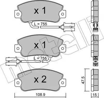 Metelli 22-0104-1 - Комплект тормозных колодок, дисковый тормоз autodnr.net