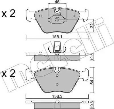 Metelli 22-0207-3 - Тормозные колодки, дисковые car-mod.com