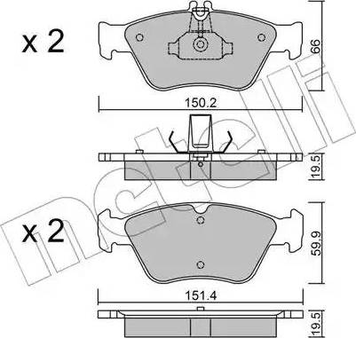 Metelli 22-0219-0 - Тормозные колодки, дисковые car-mod.com