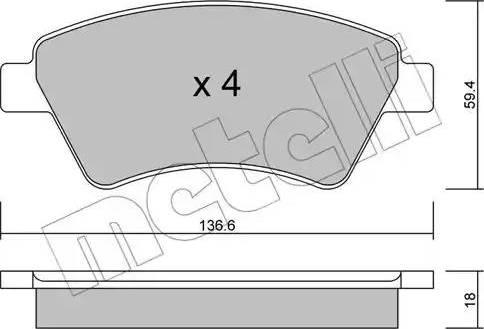 Metelli 22-0544-0 - Комплект тормозных колодок, дисковый тормоз autodnr.net