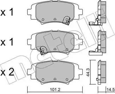 Metelli 22-0993-0 - Комплект тормозных колодок, дисковый тормоз autodnr.net