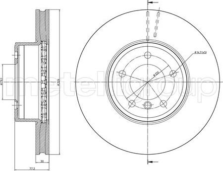 Metelli 23-0805C - Тормозной диск autodnr.net