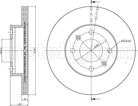 Metelli 23-0926C - Тормозной диск autodnr.net