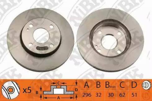 NiBK RN1536DL - Экономичный тормозной диск avtokuzovplus.com.ua