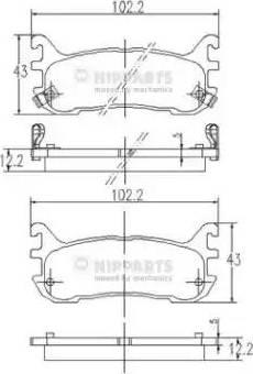 Nipparts J3613012 - Комплект тормозных колодок, дисковый тормоз autodnr.net