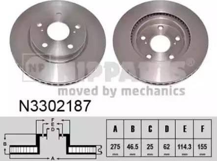 Nipparts N3302187 - Тормозной диск autodnr.net