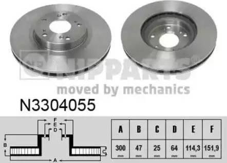 Nipparts N3304055 - Тормозной диск autodnr.net