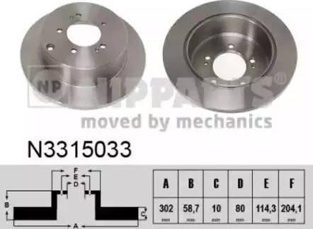 Nipparts N3315033 - Тормозной диск autodnr.net