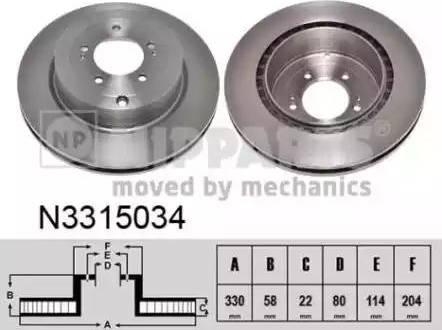 Nipparts N3315034 - Тормозной диск autodnr.net