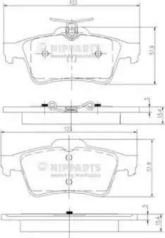 Nipparts N3613022 - Комплект тормозных колодок, дисковый тормоз autodnr.net
