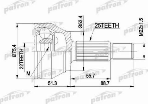 Patron PCV1432 - Šarnīru komplekts, Piedziņas vārpsta car-mod.com