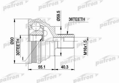 Patron PCV1467 - Шарнирный комплект, приводной вал autodnr.net