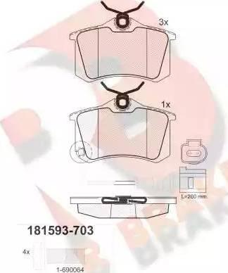 R Brake RB1593-703 - Комплект тормозных колодок, дисковый тормоз autodnr.net