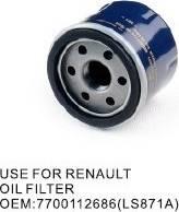 RENAULT 7700112686 - Масляний фільтр autocars.com.ua