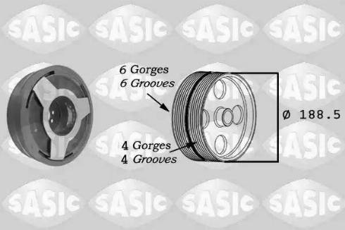 Sasic 9001806 - Ремінний шків, колінчастий вал autocars.com.ua