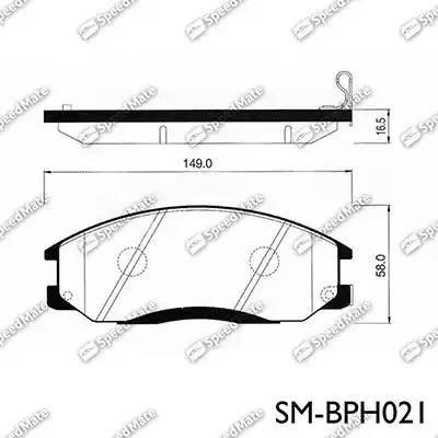 SpeedMate SM-BPH021 - Тормозные колодки, дисковые car-mod.com