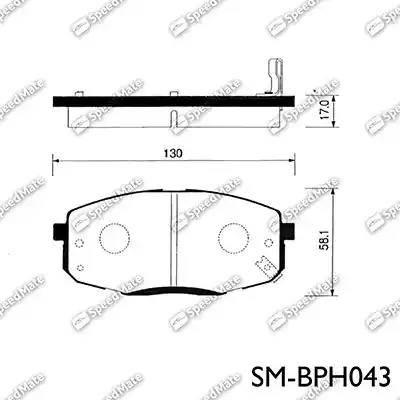 SpeedMate SM-BPH043 - Тормозные колодки, дисковые car-mod.com