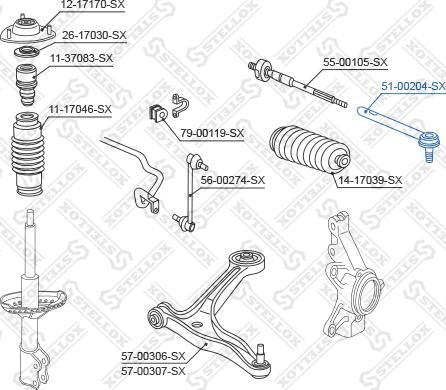 Stellox 51-00204-SX - Наконечник рулевой тяги, шарнир car-mod.com