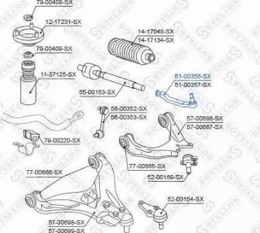 Stellox 51-00356-SX - Наконечник рулевой тяги, шарнир car-mod.com