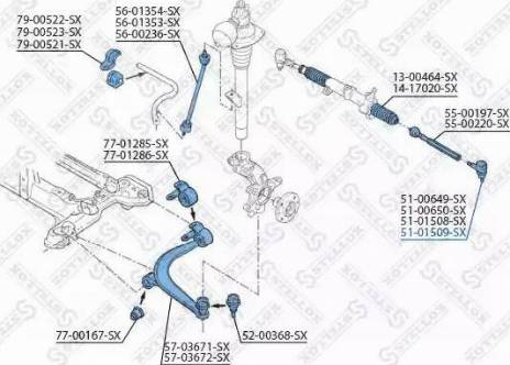 Stellox 51-01509-SX - Наконечник рульової тяги, кульовий шарнір autocars.com.ua