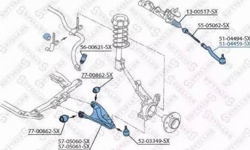 Stellox 51-04459-SX - Наконечник рульової тяги, кульовий шарнір autocars.com.ua